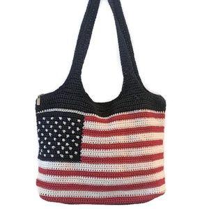 The Sak USA Flag Tote Crochet Slouchy Shoulder Bag
